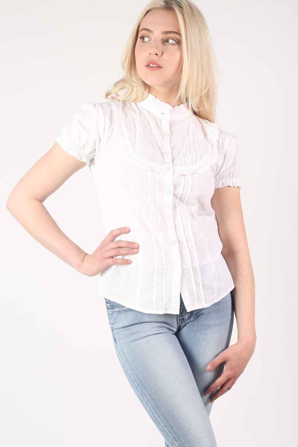 High Neck Cap Sleeve Button Front Blouse in White 0