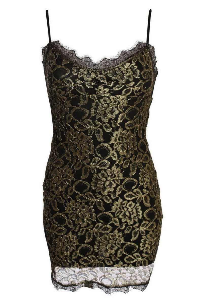 Metallic Eyelash Lace Strappy Bodycon Dress in Gold 2