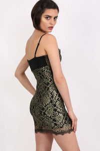 Metallic Eyelash Lace Strappy Bodycon Dress in Gold 3