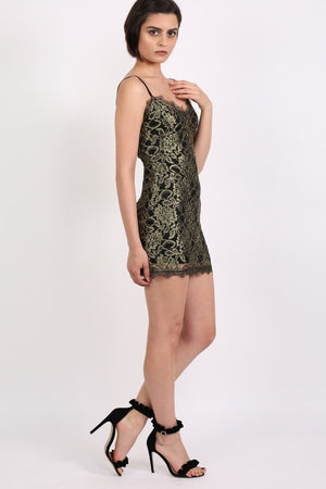 Metallic Eyelash Lace Strappy Bodycon Dress in Gold 4