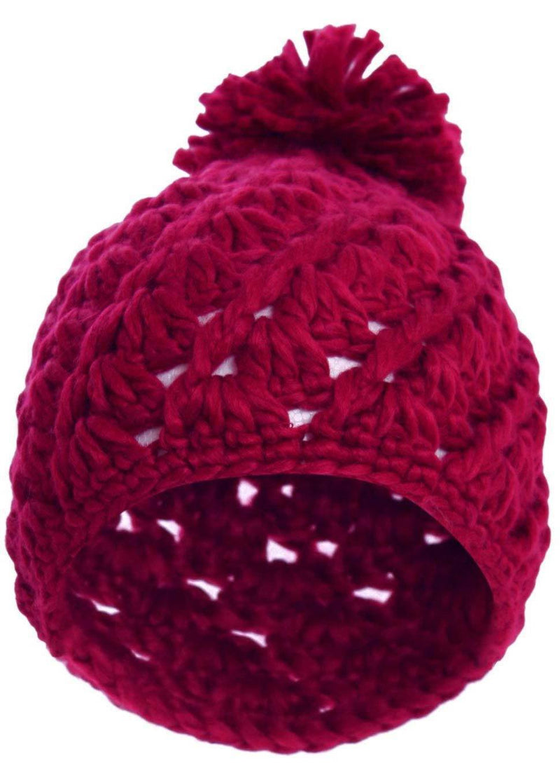 Chunky Knit Pompom Beanie Hat in Claret Red 2