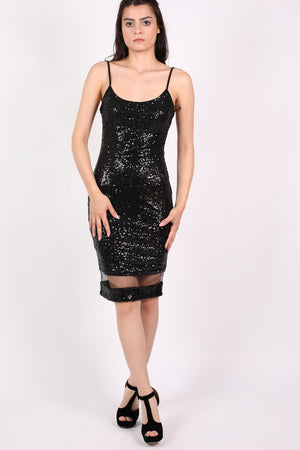 Strappy Sequin Mesh Panel Detail Bodycon Dress in Black 0
