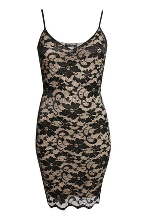 Floral Lace Strappy Bodycon Dress in Black 2