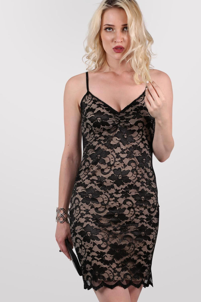 Floral Lace Strappy Bodycon Dress in Black 1
