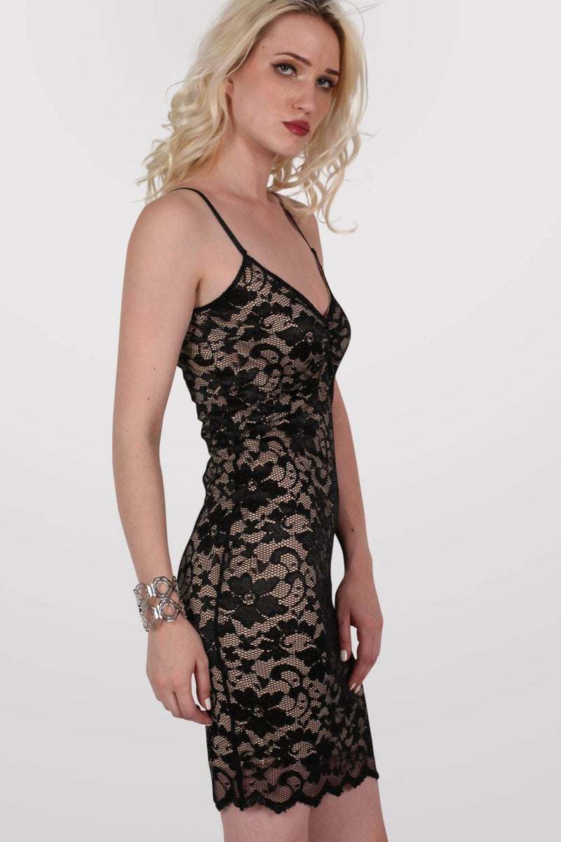 Floral Lace Strappy Bodycon Dress in Black 3