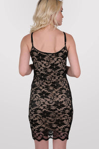 Floral Lace Strappy Bodycon Dress in Black 4