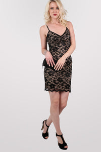 Floral Lace Strappy Bodycon Dress in Black 5