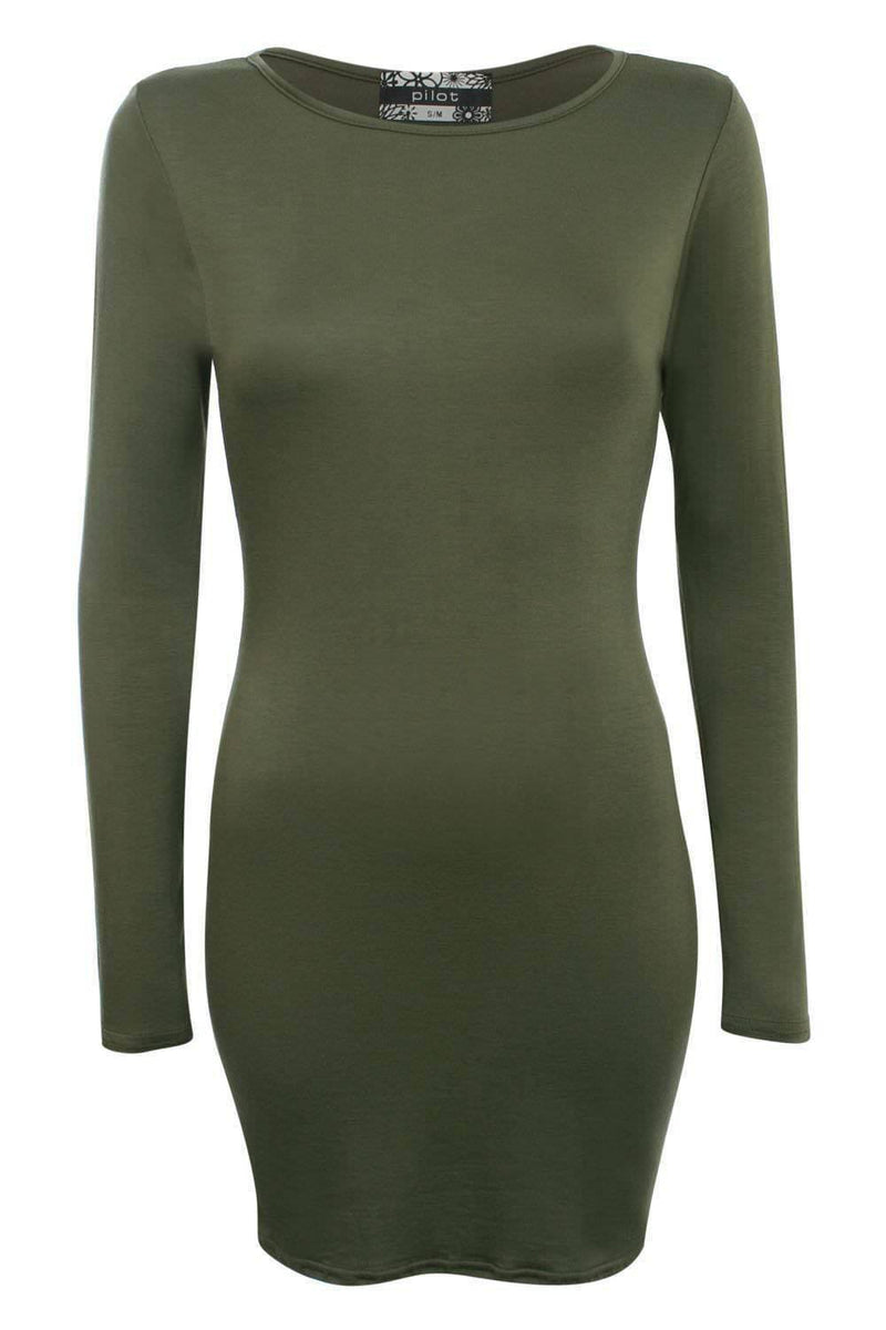Plain Long Sleeve Bodycon Dress in Khaki Green 2