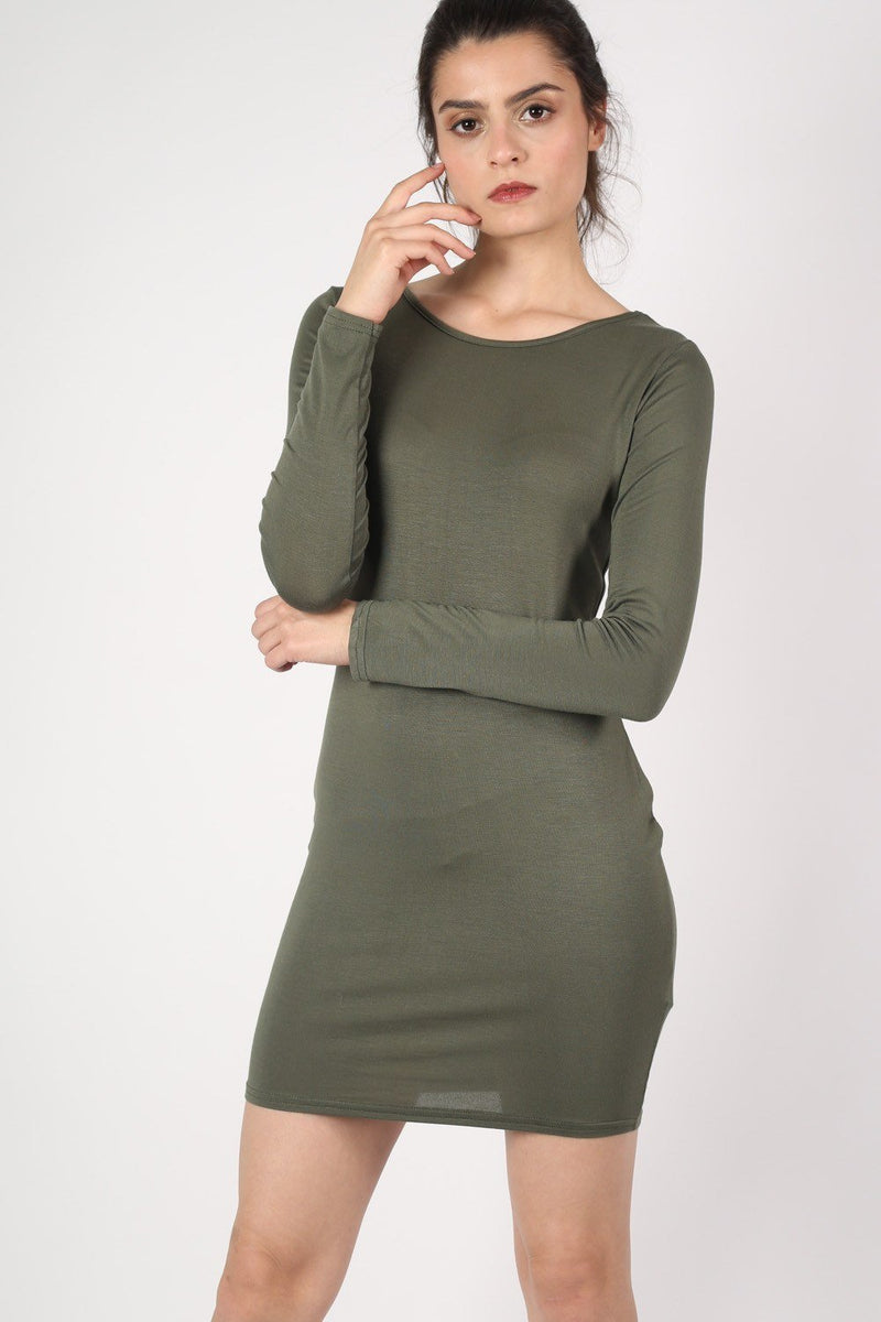 Plain Long Sleeve Bodycon Dress in Khaki Green 1