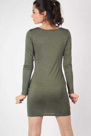 Plain Long Sleeve Bodycon Dress in Khaki Green 4