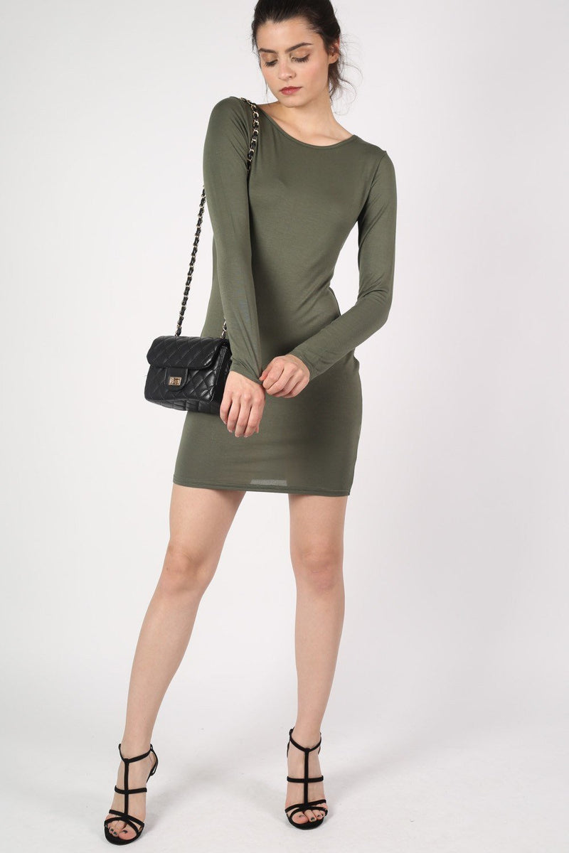 Plain Long Sleeve Bodycon Dress in Khaki Green 5