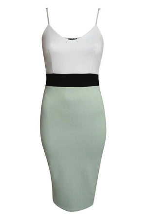 Strappy Contrast Bodycon Dress in Mint Green 2