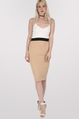 Strappy Contrast Bodycon Dress in Stone 1