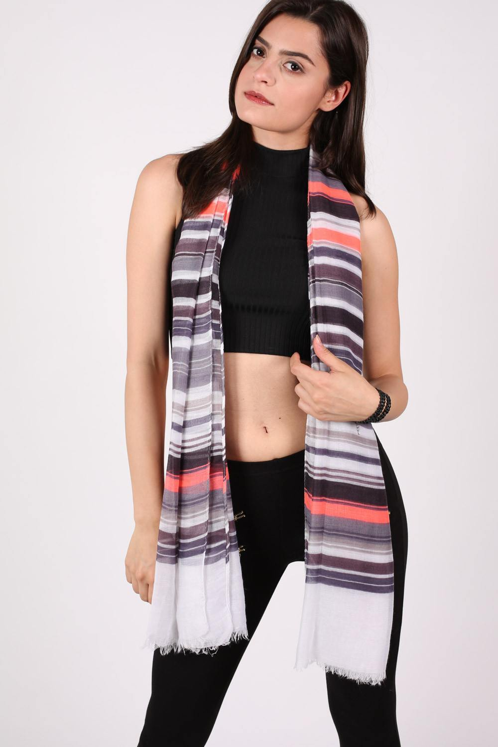 Multistripe Scarf in Grey 0