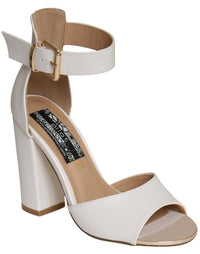 Gold Plate Block Heel Sandals in White 2
