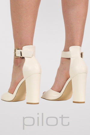 Gold Plate Block Heel Sandals in White 4