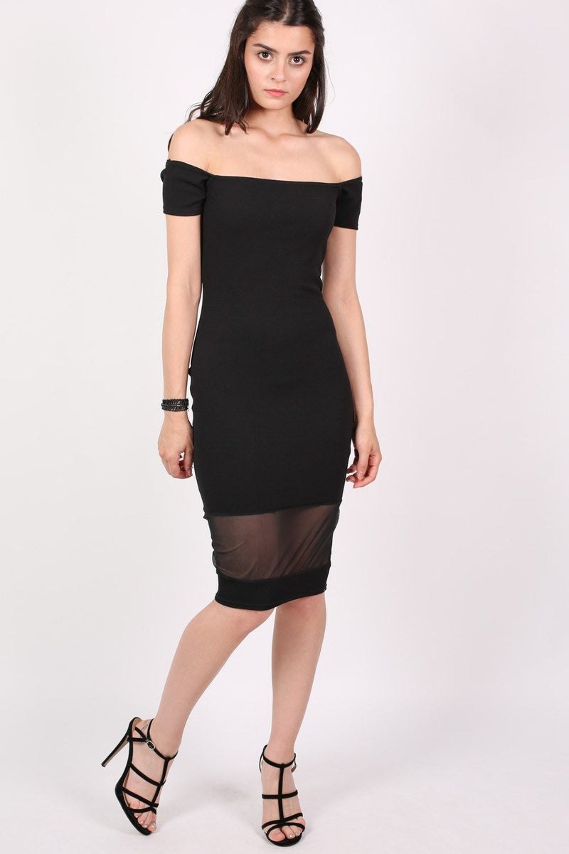 Bardot Mesh Trim Detail Bodycon Dress in Black 1