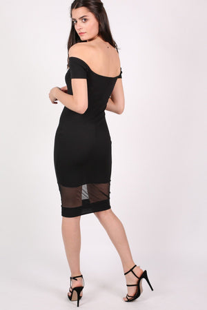 Bardot Mesh Trim Detail Bodycon Dress in Black 4