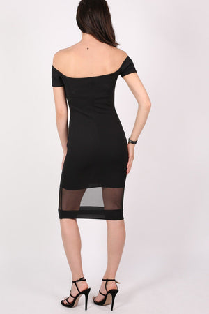 Bardot Mesh Trim Detail Bodycon Dress in Black 5