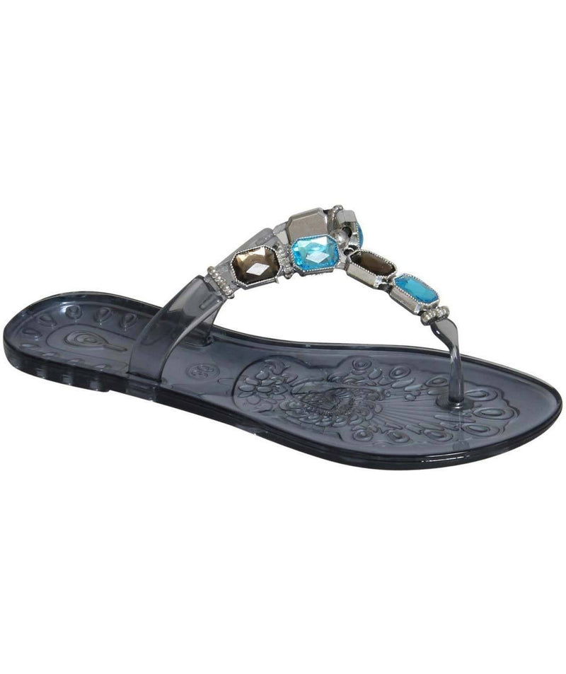 Jewel Strap Jelly Sandals in Black 3