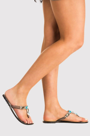 Jewel Strap Jelly Sandals in Black 1