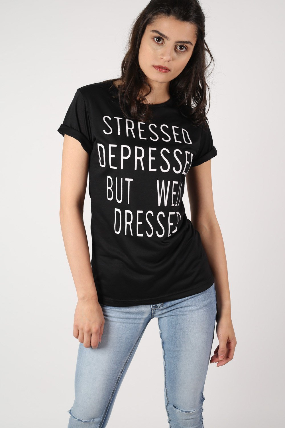 Well Dressed Slogan T-Shirt in Black 0
