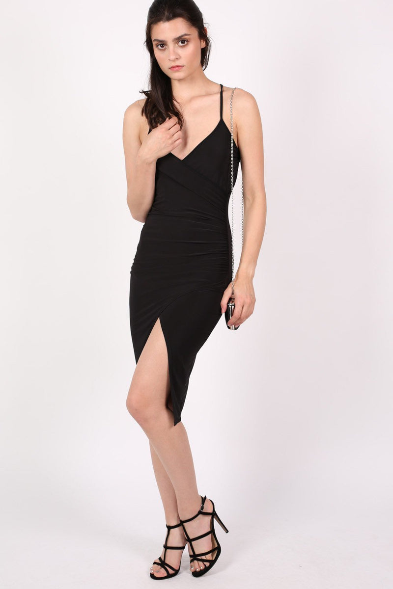 Wrap Front Strappy Bodycon Dress in Black 0