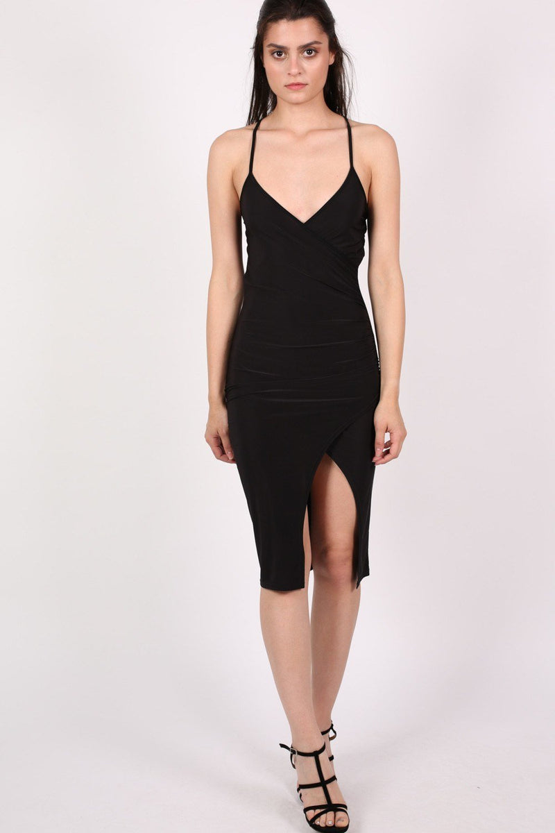 Wrap Front Strappy Bodycon Dress in Black 1