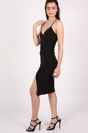 Wrap Front Strappy Bodycon Dress in Black 3