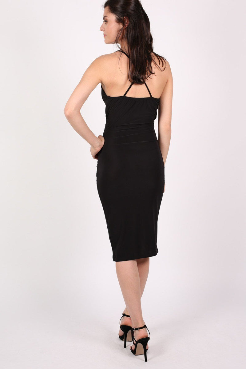 Wrap Front Strappy Bodycon Dress in Black 4