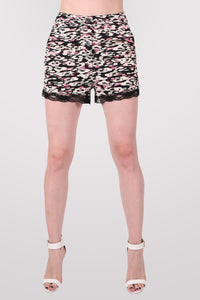 Abstract Print Lace Trim Shorts in Cerise Pink 1