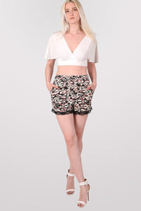 Abstract Print Lace Trim Shorts in Cerise Pink 5