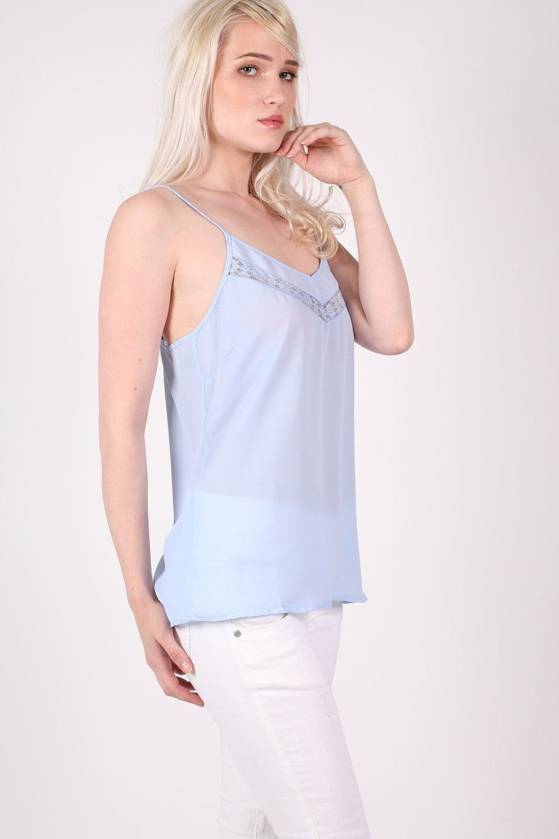 Lace Trim Cami Top in Dusty Blue 1