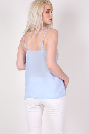 Lace Trim Cami Top in Dusty Blue 2
