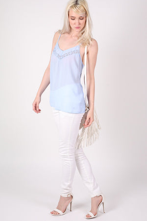 Lace Trim Cami Top in Dusty Blue 3