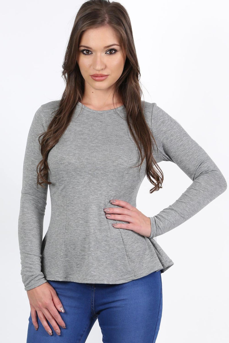 Scoop Neck Long Sleeve Peplum Top in Grey 0