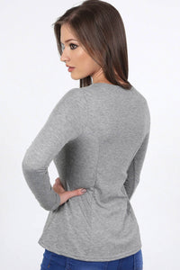 Scoop Neck Long Sleeve Peplum Top in Grey 1