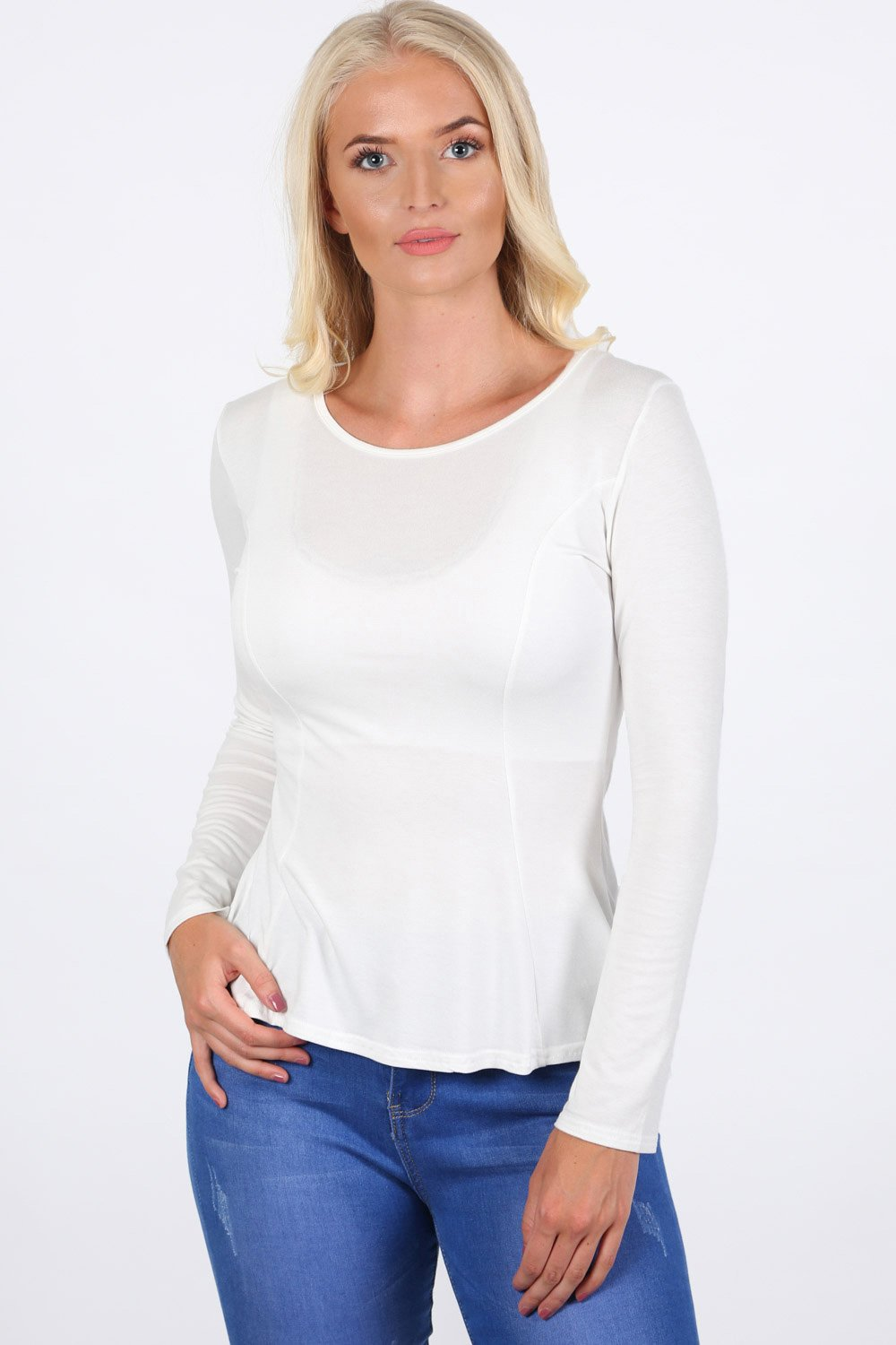 Scoop Neck Long Sleeve Peplum Top in Cream 0