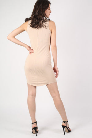 High Neck Sleeveless Rib Bodycon Dress in Camel Brown 3
