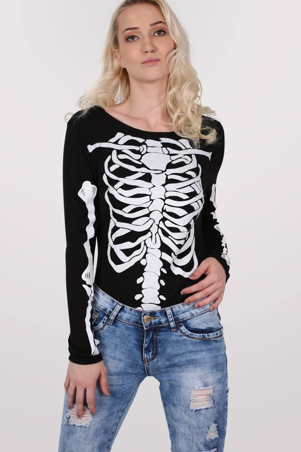 Halloween Skeleton Bodysuit in Black 0