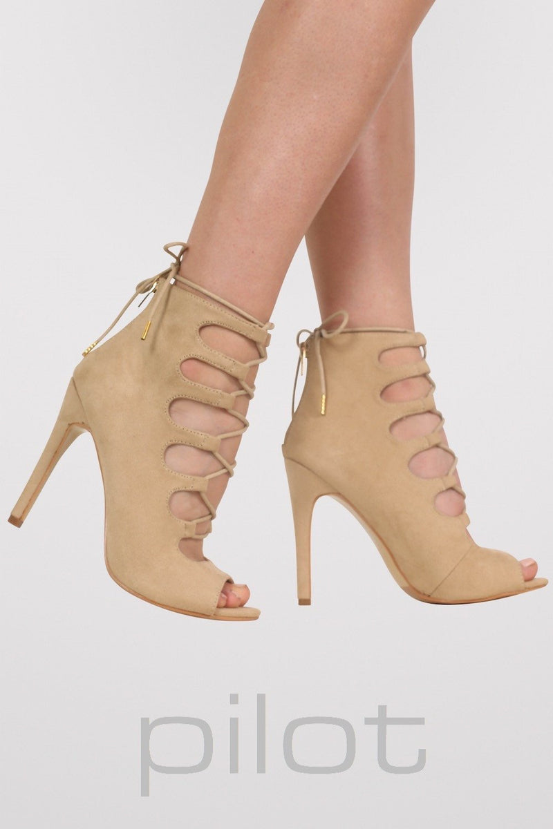 Lace Up High Heel Shoes in Stone 1