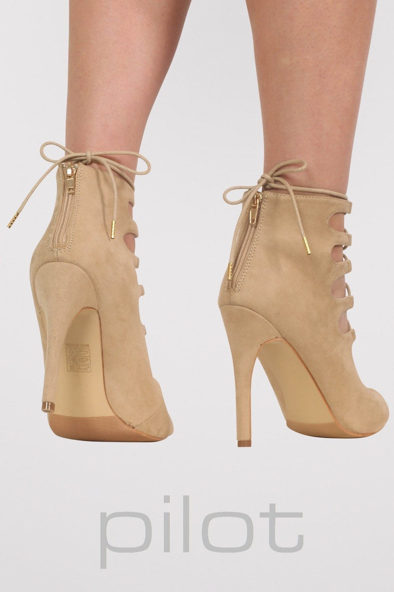 Lace Up High Heel Shoes in Stone 2