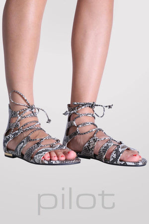 Lace Up Snake Print Flat Sandals in Black 0