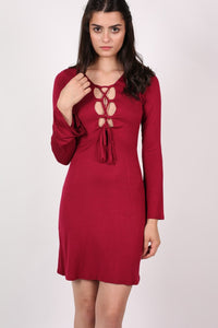 Bell Sleeve Lace Up Front Fit Flare Dress in Wine Red 0