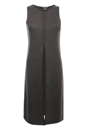 Long Sleeveless Split Front Knitted Tunic Top in Grey 2