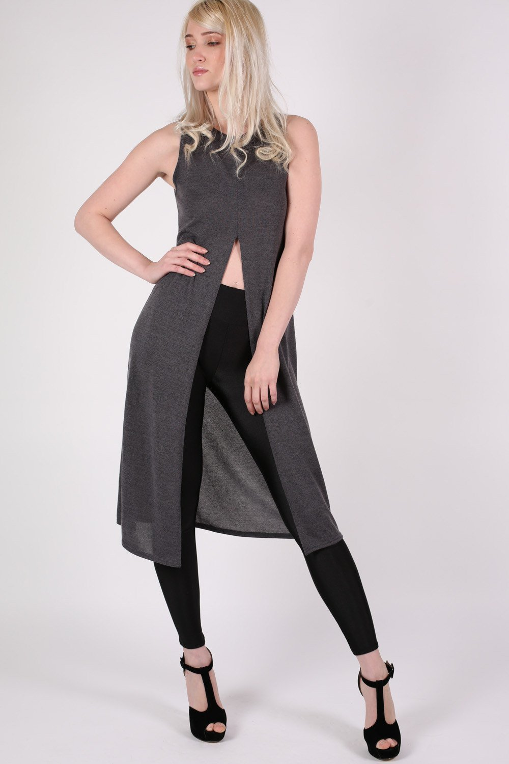 Long Sleeveless Split Front Knitted Tunic Top in Grey 0