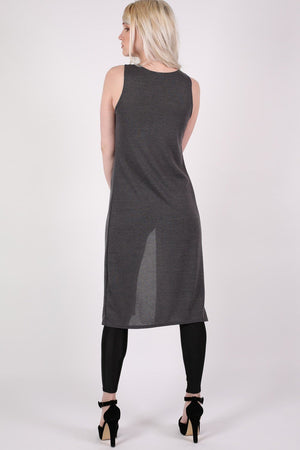 Long Sleeveless Split Front Knitted Tunic Top in Grey 4