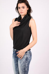 Sleeveless Cowl Neck Knitted Top in Black 0