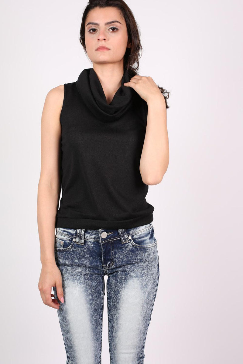 Sleeveless Cowl Neck Knitted Top in Black 1