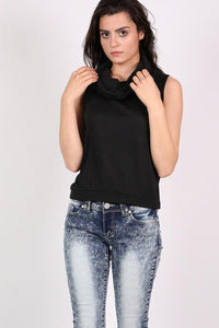 Sleeveless Cowl Neck Knitted Top in Black 3